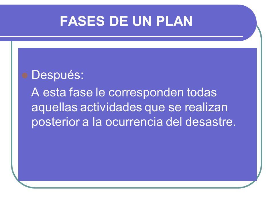 FASES DE UN PLAN Después: A esta fase le corresponden todas aquellas actividades que se realizan posterior a la ocurrencia del desastre.