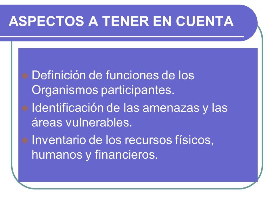 ASPECTOS A TENER EN CUENTA Definición de funciones de los Organismos participantes. Identificación de las amenazas y las áreas vulnerables. Inventario