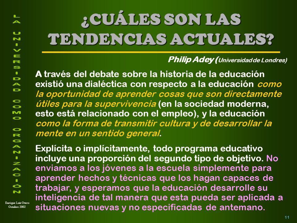Enrique Luis Otero Octubre 2002 Conocimiento inerte: Aquel que fuera de contextos específicos no puede ser recordado ni utilizado para nuevos aprendizajes.
