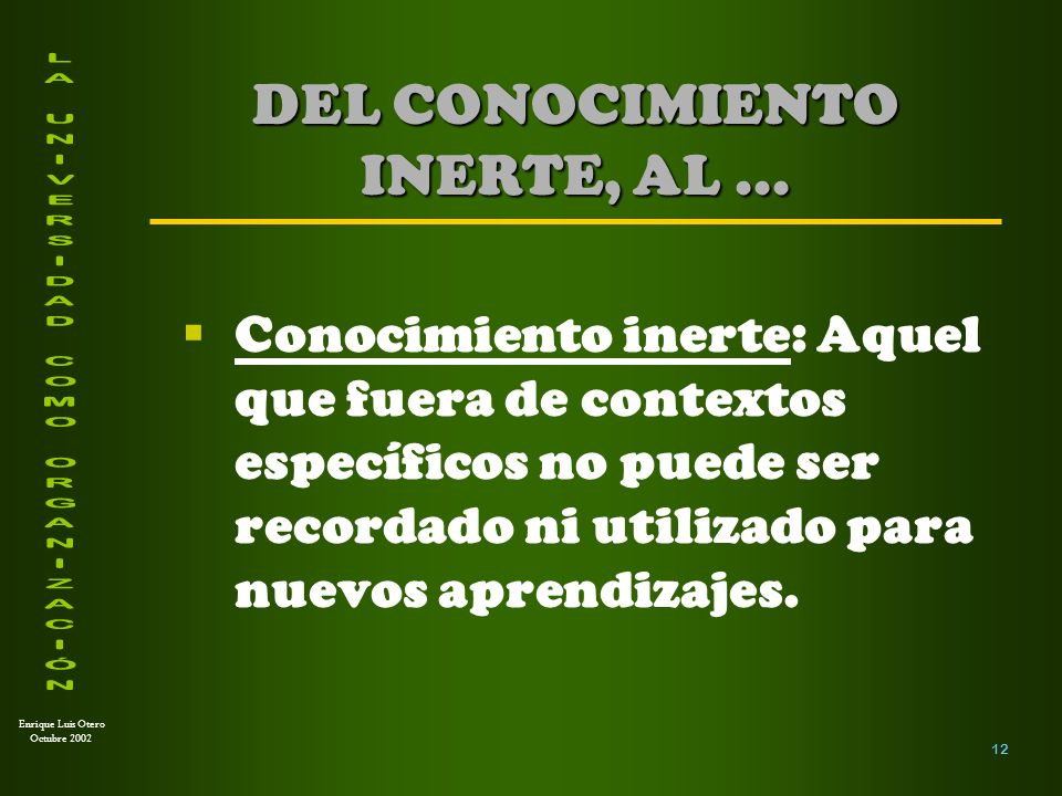 Enrique Luis Otero Octubre 2002 Conocimiento generativo: Aquel que puede ser usado para:...