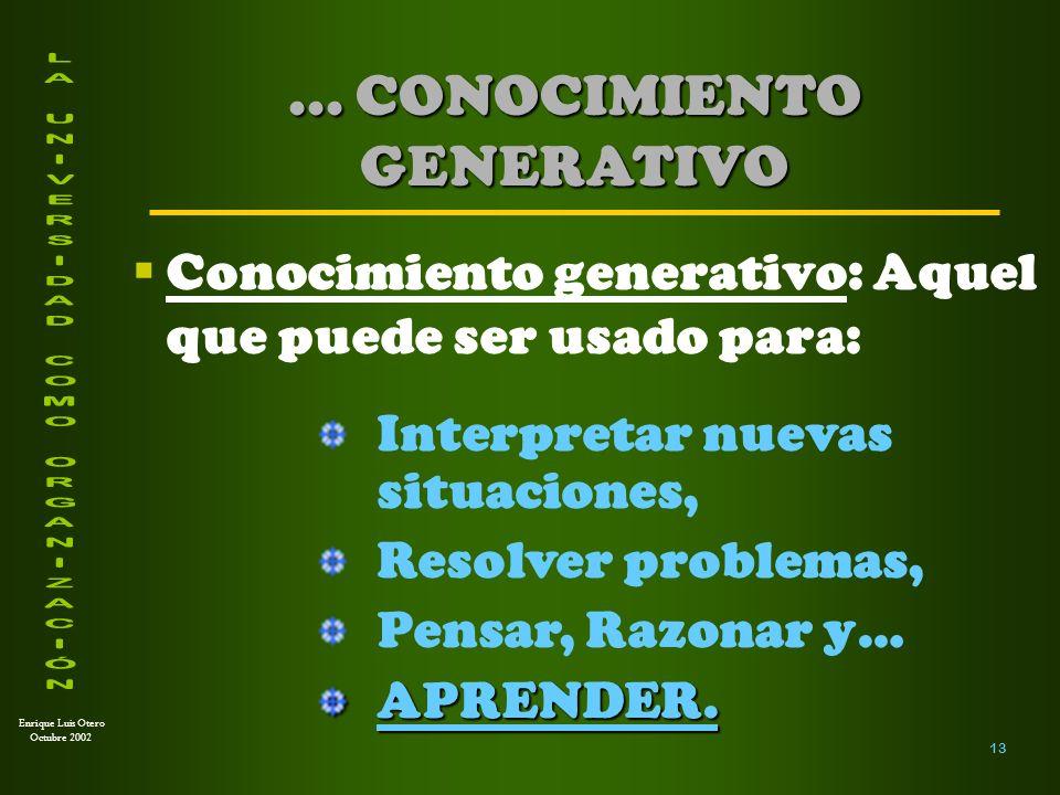 Enrique Luis Otero Octubre 2002 En la Universidad, el CONOCIMIENTO es materia prima y también PRODUCTO EN SÍNTESIS...
