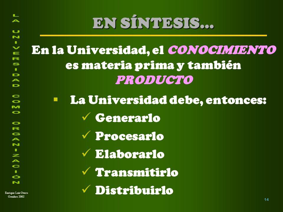 Enrique Luis Otero Octubre 2002 La pregunta inevitable es: ¿Cómo podemos organizar la Universidad para estos propósitos.
