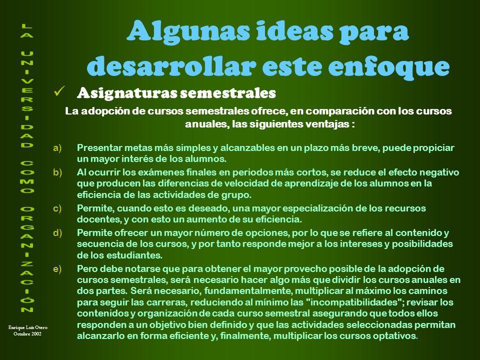 Enrique Luis Otero Octubre 2002 Algunas ideas para desarrollar este enfoque Unificación de asignaturas con contenidos similares La unificación de asignaturas básicas con contenidos comunes o similares ofrece, entre otras, las siguientes ventajas : a)Una distribución más racional de los recursos académicos.