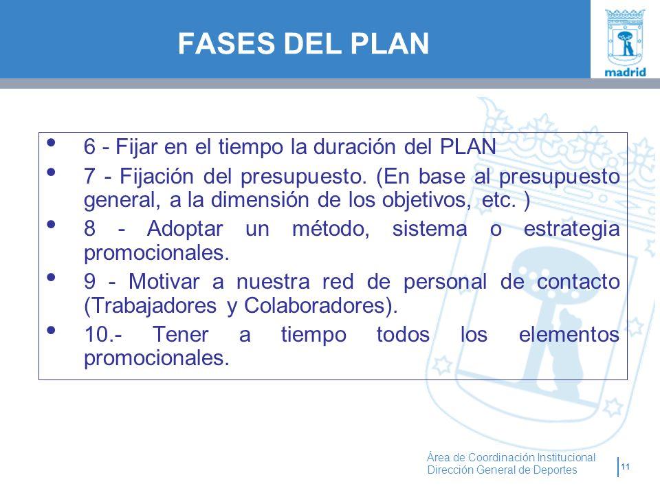 11 Área de Coordinación Institucional Dirección General de Deportes FASES DEL PLAN 6 - Fijar en el tiempo la duración del PLAN 7 - Fijación del presup