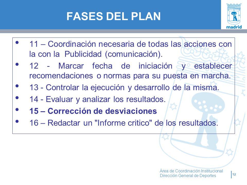 12 Área de Coordinación Institucional Dirección General de Deportes FASES DEL PLAN 11 – Coordinación necesaria de todas las acciones con la con la Pub
