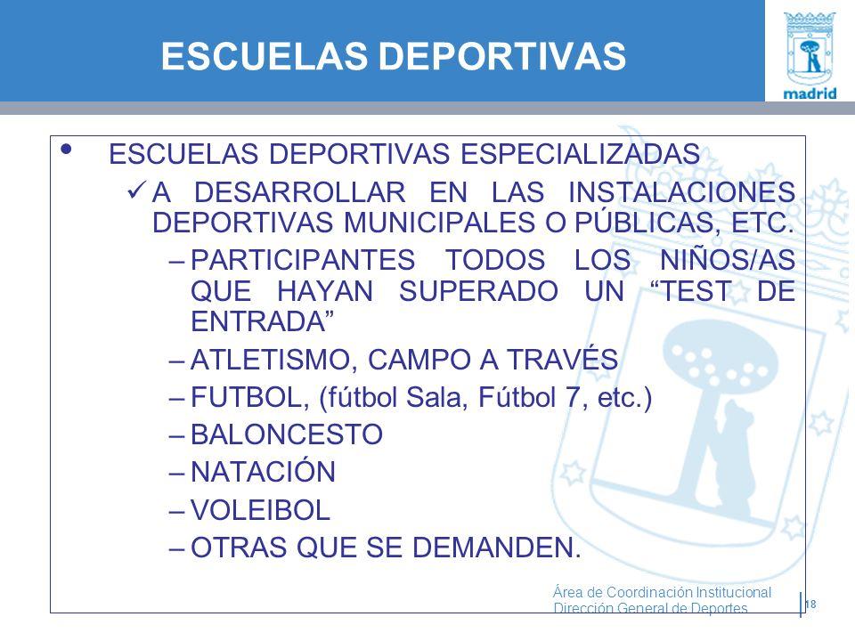 18 Área de Coordinación Institucional Dirección General de Deportes ESCUELAS DEPORTIVAS ESPECIALIZADAS A DESARROLLAR EN LAS INSTALACIONES DEPORTIVAS M