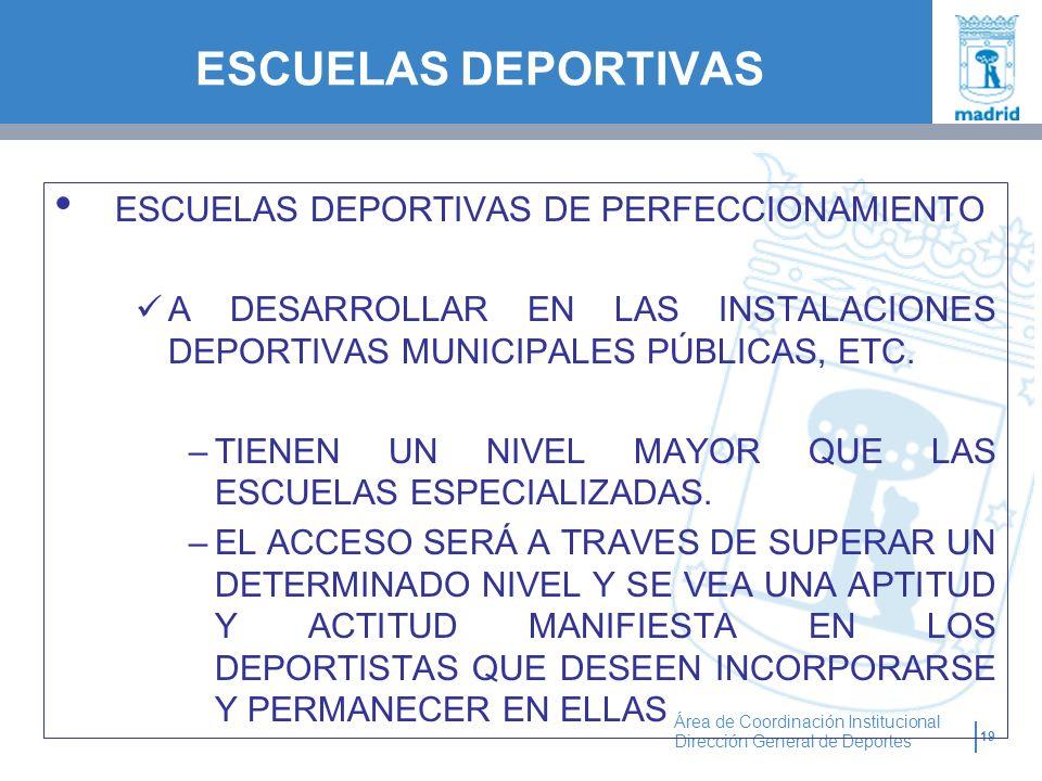 19 Área de Coordinación Institucional Dirección General de Deportes ESCUELAS DEPORTIVAS DE PERFECCIONAMIENTO A DESARROLLAR EN LAS INSTALACIONES DEPORT
