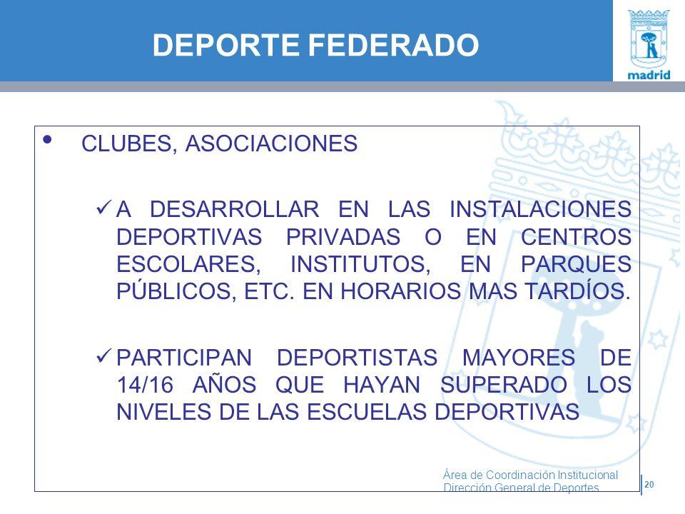 20 Área de Coordinación Institucional Dirección General de Deportes CLUBES, ASOCIACIONES A DESARROLLAR EN LAS INSTALACIONES DEPORTIVAS PRIVADAS O EN C