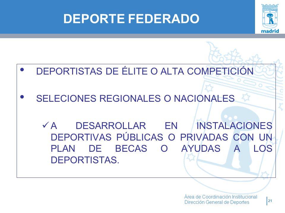 21 Área de Coordinación Institucional Dirección General de Deportes DEPORTISTAS DE ÉLITE O ALTA COMPETICIÓN SELECIONES REGIONALES O NACIONALES A DESAR
