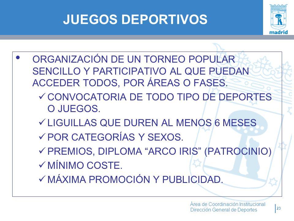 23 Área de Coordinación Institucional Dirección General de Deportes ORGANIZACIÓN DE UN TORNEO POPULAR SENCILLO Y PARTICIPATIVO AL QUE PUEDAN ACCEDER T