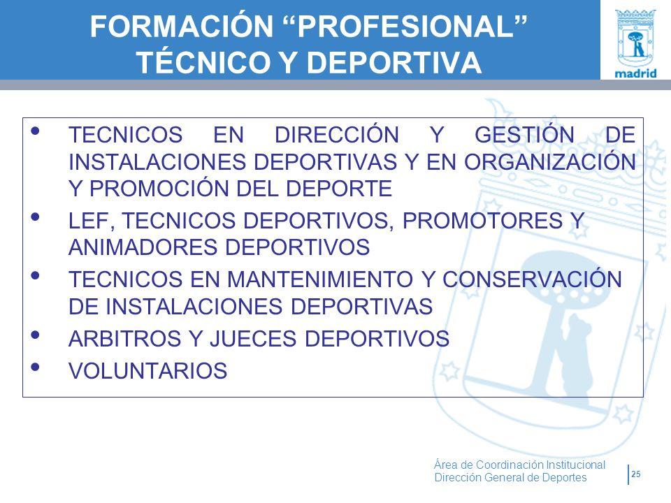 25 Área de Coordinación Institucional Dirección General de Deportes TECNICOS EN DIRECCIÓN Y GESTIÓN DE INSTALACIONES DEPORTIVAS Y EN ORGANIZACIÓN Y PR