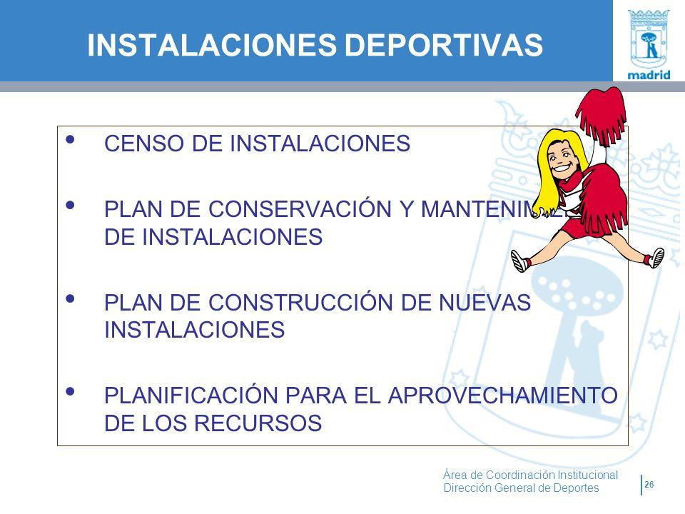 26 Área de Coordinación Institucional Dirección General de Deportes CENSO DE INSTALACIONES PLAN DE CONSERVACIÓN Y MANTENIMIENTO DE INSTALACIONES PLAN