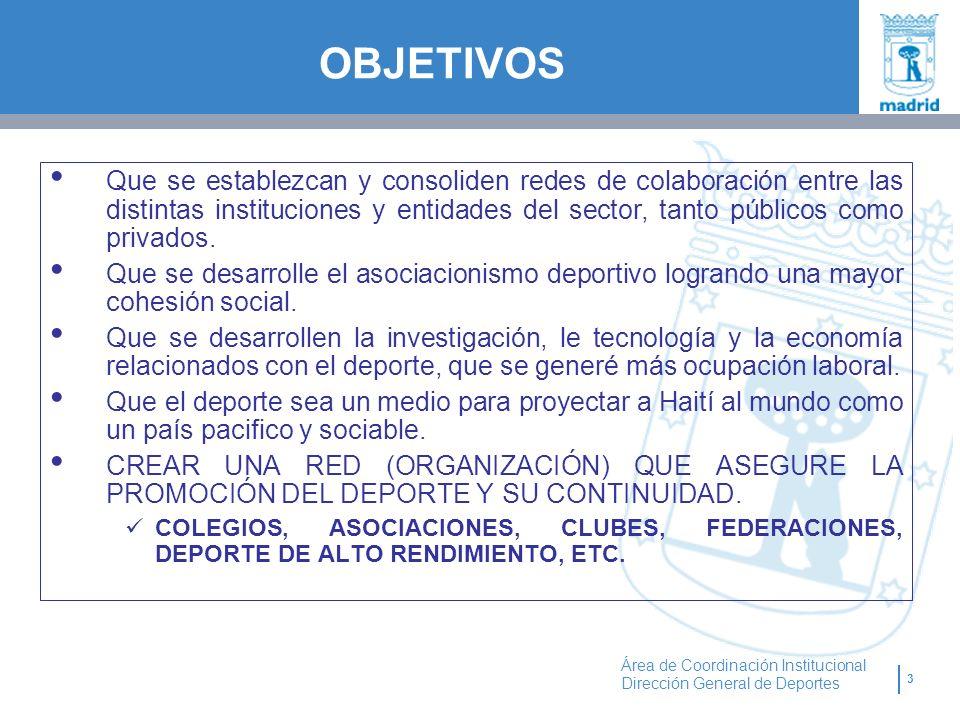 3 Área de Coordinación Institucional Dirección General de Deportes OBJETIVOS Que se establezcan y consoliden redes de colaboración entre las distintas