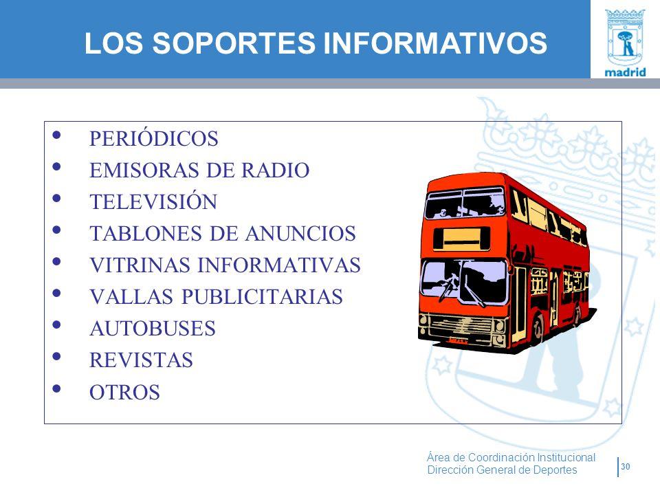 30 Área de Coordinación Institucional Dirección General de Deportes PERIÓDICOS EMISORAS DE RADIO TELEVISIÓN TABLONES DE ANUNCIOS VITRINAS INFORMATIVAS