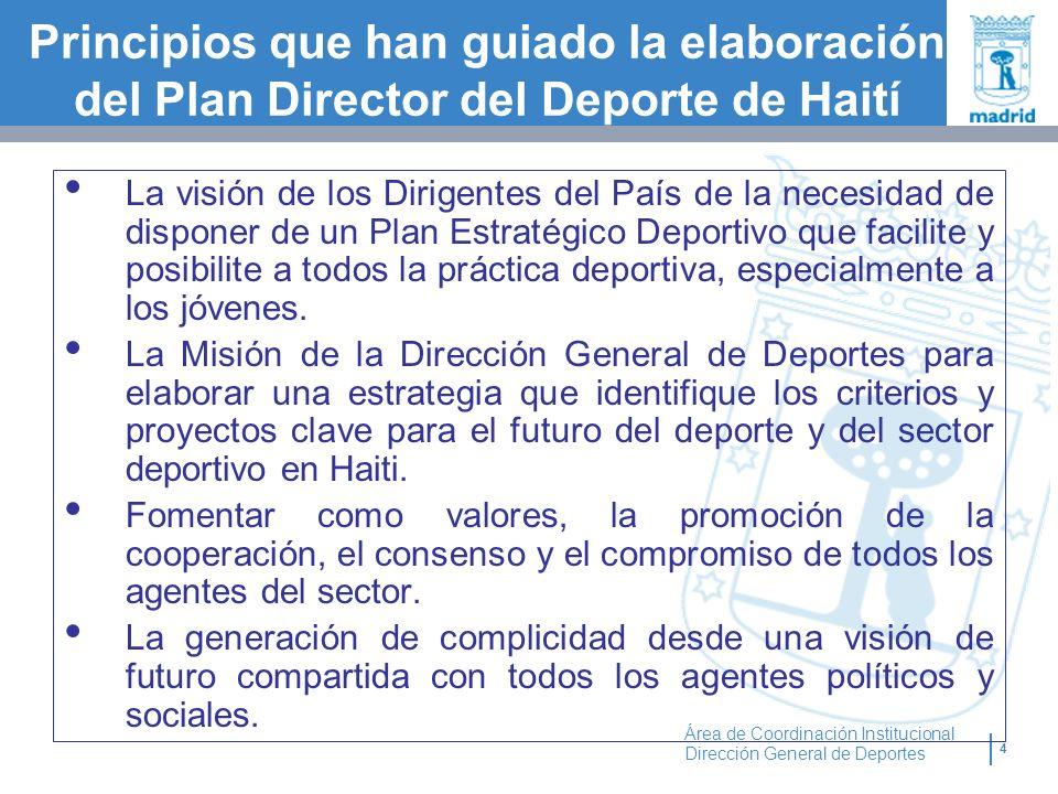 4 Área de Coordinación Institucional Dirección General de Deportes Principios que han guiado la elaboración del Plan Director del Deporte de Haití La