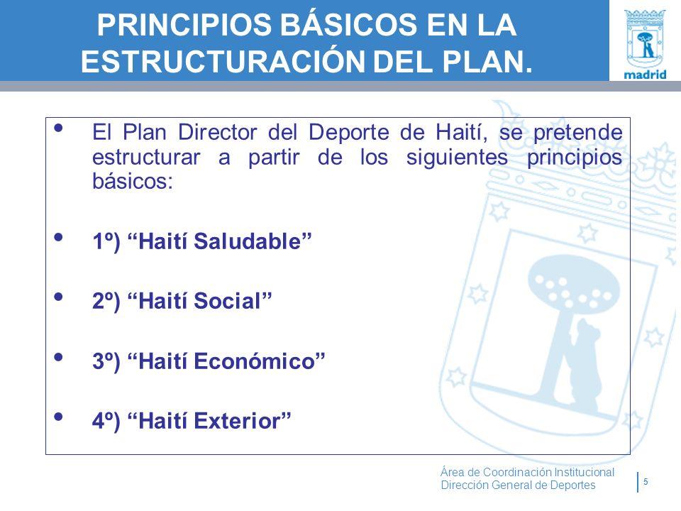 5 Área de Coordinación Institucional Dirección General de Deportes PRINCIPIOS BÁSICOS EN LA ESTRUCTURACIÓN DEL PLAN. El Plan Director del Deporte de H