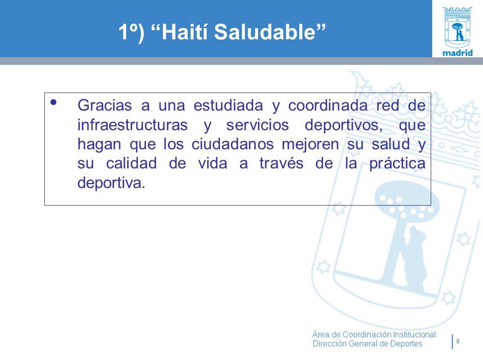 6 Área de Coordinación Institucional Dirección General de Deportes 1º) Haití Saludable Gracias a una estudiada y coordinada red de infraestructuras y