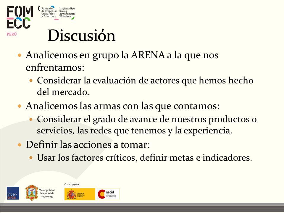Analicemos en grupo la ARENA a la que nos enfrentamos: Considerar la evaluación de actores que hemos hecho del mercado. Analicemos las armas con las q