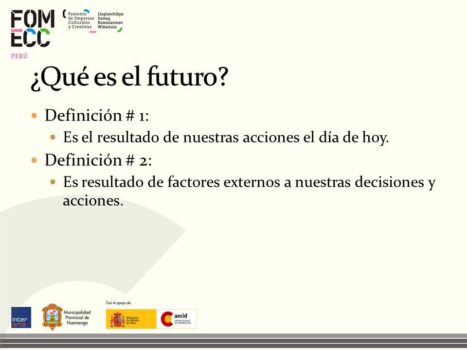 Definición # 1: Es el resultado de nuestras acciones el día de hoy. Definición # 2: Es resultado de factores externos a nuestras decisiones y acciones