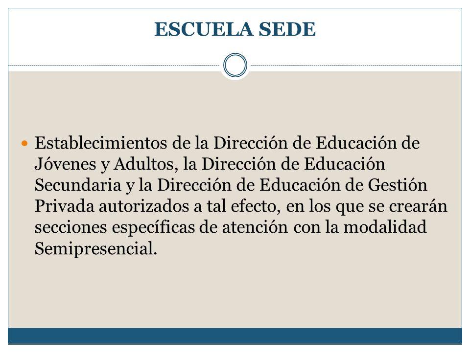 ESCUELA SEDE Establecimientos de la Dirección de Educación de Jóvenes y Adultos, la Dirección de Educación Secundaria y la Dirección de Educación de G