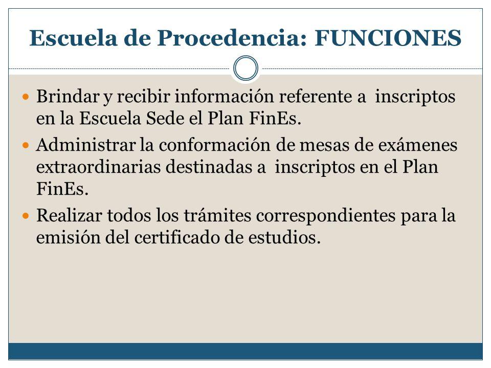 Escuela de Procedencia: FUNCIONES Brindar y recibir información referente a inscriptos en la Escuela Sede el Plan FinEs. Administrar la conformación d