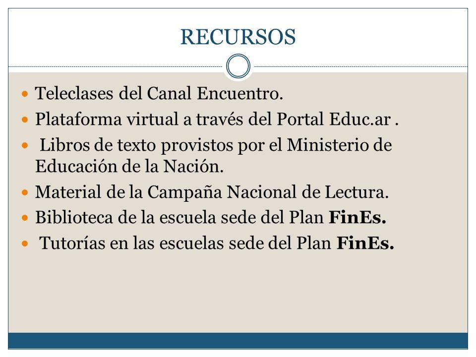RECURSOS Teleclases del Canal Encuentro. Plataforma virtual a través del Portal Educ.ar. Libros de texto provistos por el Ministerio de Educación de l