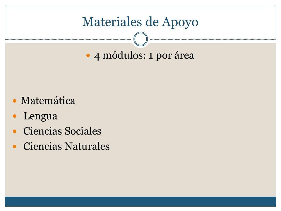Materiales de Apoyo 4 módulos: 1 por área Matemática Lengua Ciencias Sociales Ciencias Naturales