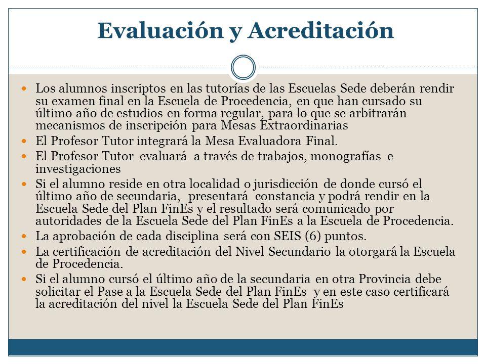 Evaluación y Acreditación Los alumnos inscriptos en las tutorías de las Escuelas Sede deberán rendir su examen final en la Escuela de Procedencia, en