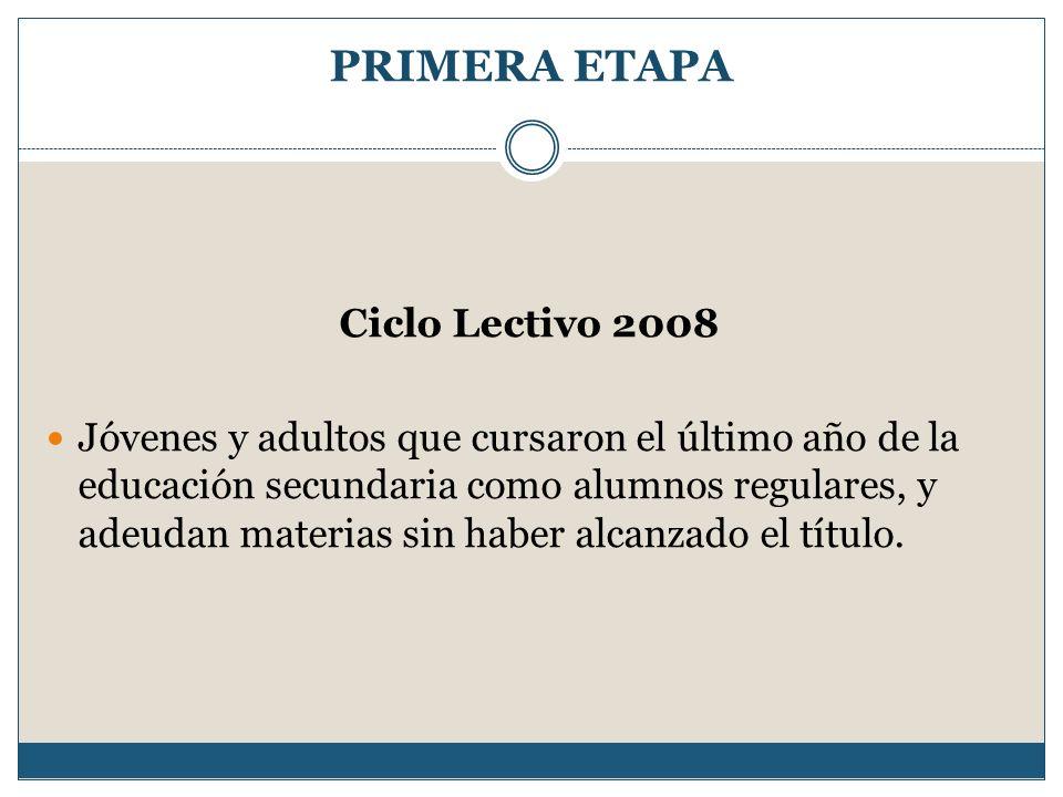 PRIMERA ETAPA Ciclo Lectivo 2008 Jóvenes y adultos que cursaron el último año de la educación secundaria como alumnos regulares, y adeudan materias si
