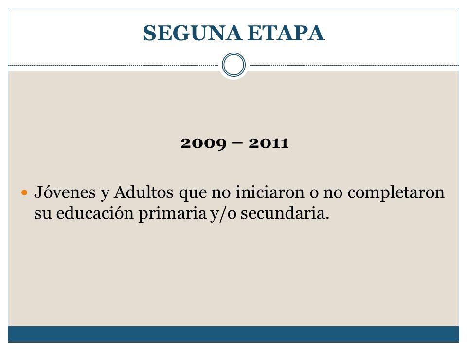 SEGUNA ETAPA 2009 – 2011 Jóvenes y Adultos que no iniciaron o no completaron su educación primaria y/o secundaria.