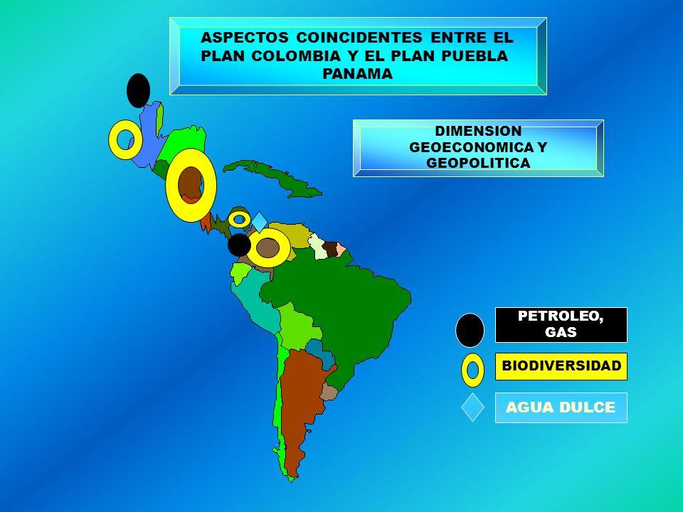 ASPECTOS COINCIDENTES ENTRE EL PLAN COLOMBIA Y EL PLAN PUEBLA PANAMA DIMENSION GEOECONOMICA Y GEOPOLITICA PETROLEO, GAS BIODIVERSIDAD AGUA DULCE
