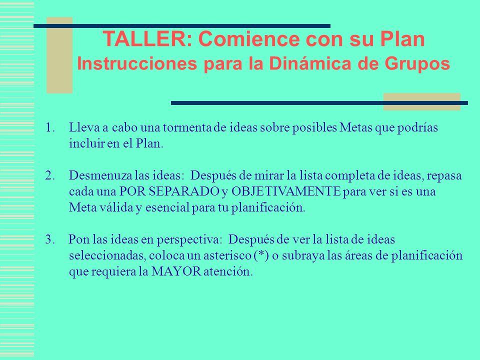 Comience con su Plan Instrucciones para la Dinámica de Grupos 4.