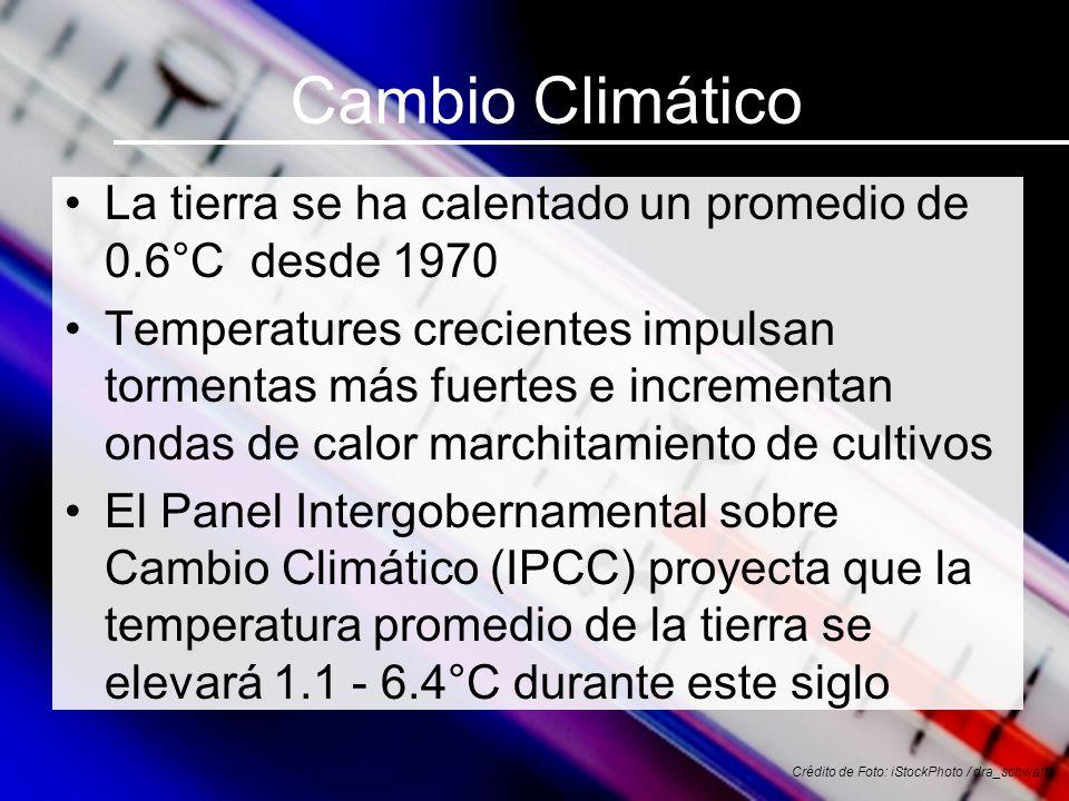 Cambio Climático La tierra se ha calentado un promedio de 0.6°C desde 1970 Temperatures crecientes impulsan tormentas más fuertes e incrementan ondas