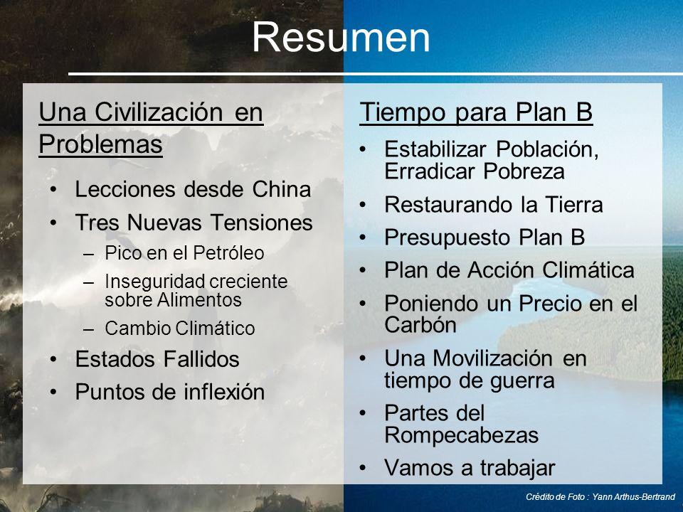 Estabilizar Población, Erradicar Pobreza Restaurando la Tierra Presupuesto Plan B Plan de Acción Climática Poniendo un Precio en el Carbón Una Moviliz