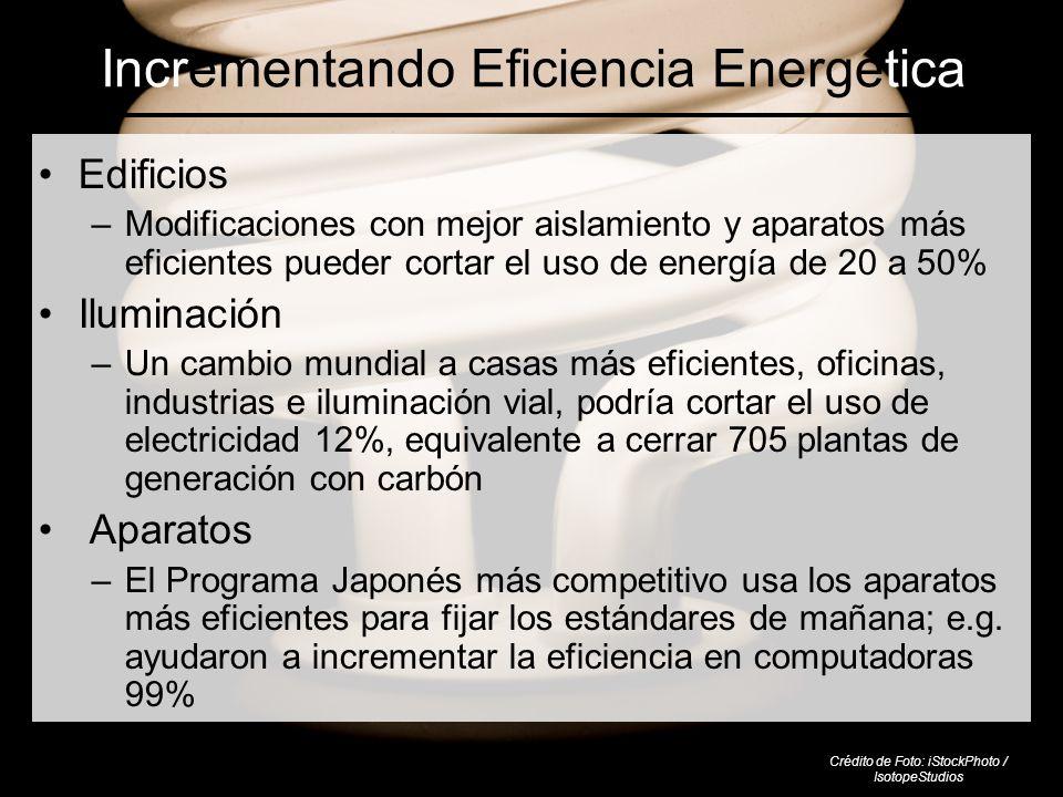 Incrementando Eficiencia Energética Edificios –Modificaciones con mejor aislamiento y aparatos más eficientes pueder cortar el uso de energía de 20 a