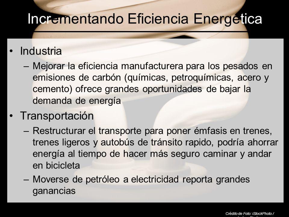 Incrementando Eficiencia Energética Industria –Mejorar la eficiencia manufacturera para los pesados en emisiones de carbón (químicas, petroquímicas, a