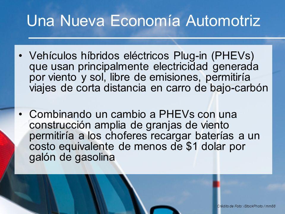 Una Nueva Economía Automotriz Vehículos híbridos eléctricos Plug-in (PHEVs) que usan principalmente electricidad generada por viento y sol, libre de e