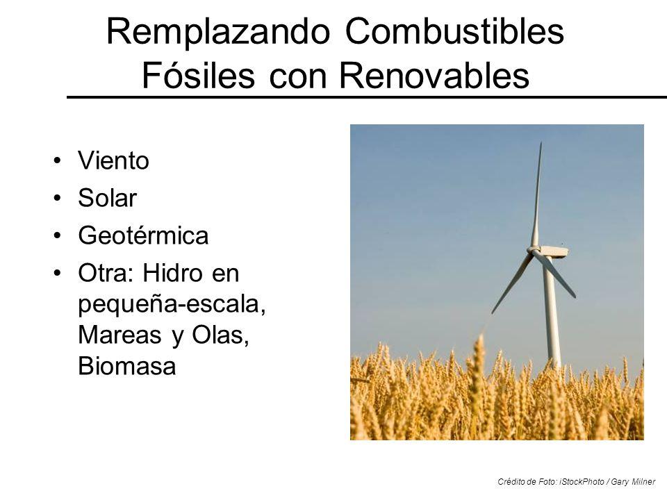 Remplazando Combustibles Fósiles con Renovables Viento Solar Geotérmica Otra: Hidro en pequeña-escala, Mareas y Olas, Biomasa Crédito de Foto: iStockP