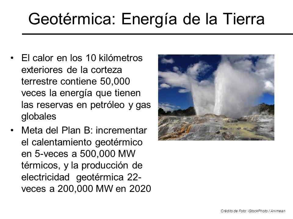 Geotérmica: Energía de la Tierra El calor en los 10 kilómetros exteriores de la corteza terrestre contiene 50,000 veces la energía que tienen las rese