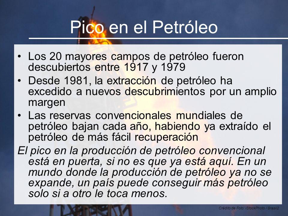 Pico en el Petróleo Los 20 mayores campos de petróleo fueron descubiertos entre 1917 y 1979 Desde 1981, la extracción de petróleo ha excedido a nuevos