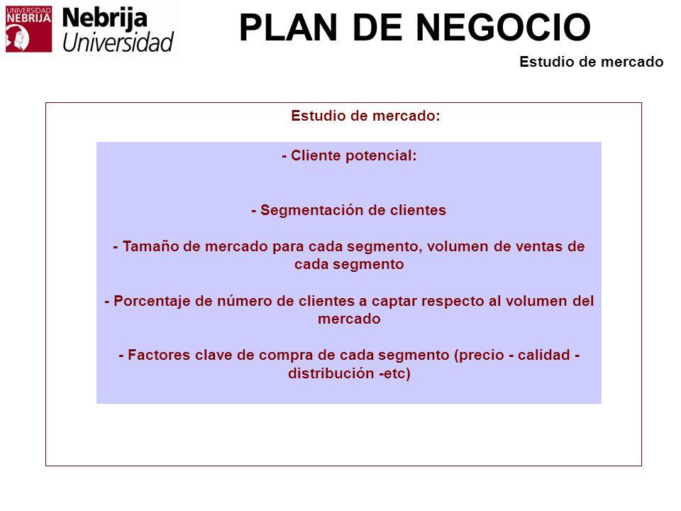PLAN DE NEGOCIO - Cliente potencial: - Segmentación de clientes - Tamaño de mercado para cada segmento, volumen de ventas de cada segmento - Porcentaj