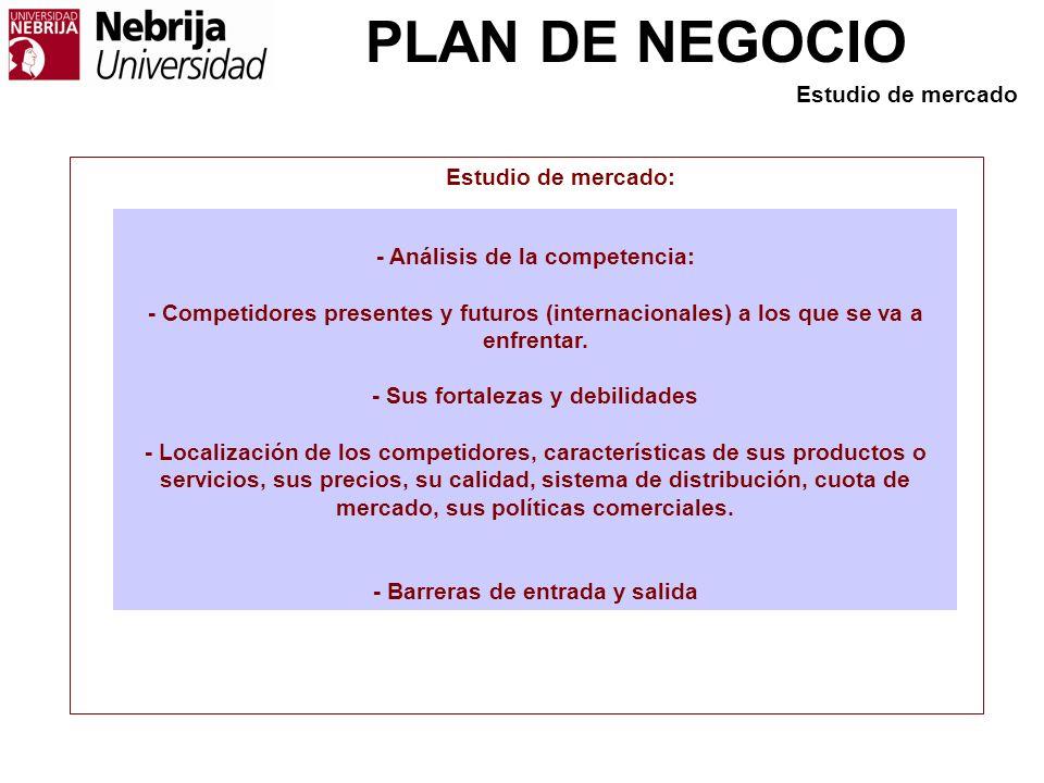 PLAN DE NEGOCIO - Análisis de la competencia: - Competidores presentes y futuros (internacionales) a los que se va a enfrentar. - Sus fortalezas y deb