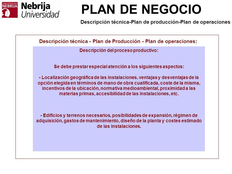 PLAN DE NEGOCIO Descripción técnica - Plan de Producción - Plan de operaciones: Descripción del proceso productivo: Se debe prestar especial atención