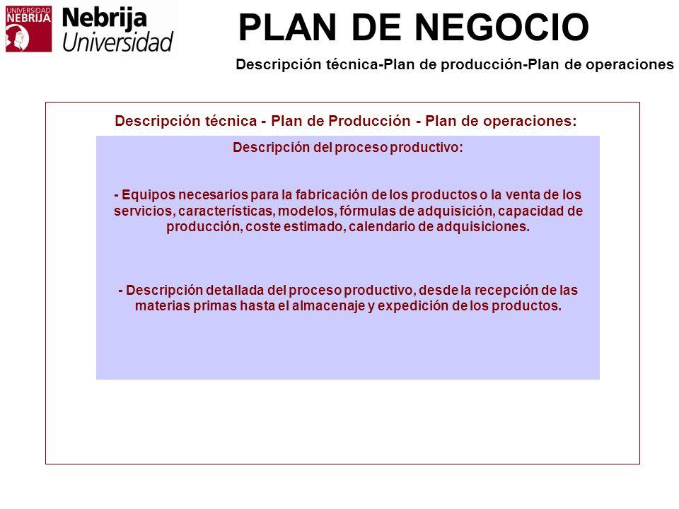 PLAN DE NEGOCIO Descripción técnica - Plan de Producción - Plan de operaciones: Descripción del proceso productivo: - Equipos necesarios para la fabri