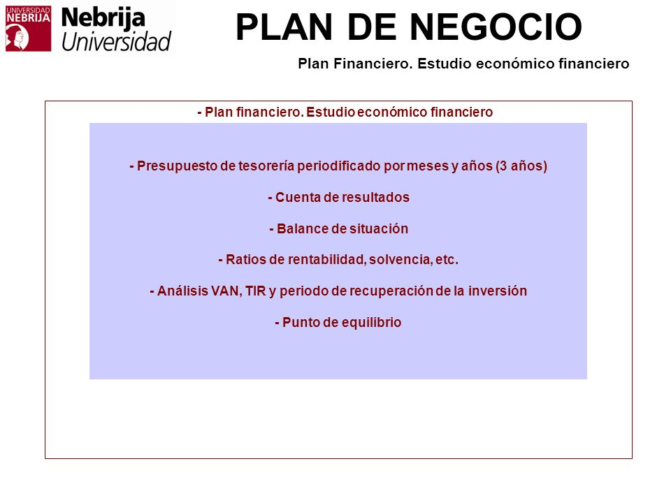 PLAN DE NEGOCIO - Plan financiero.