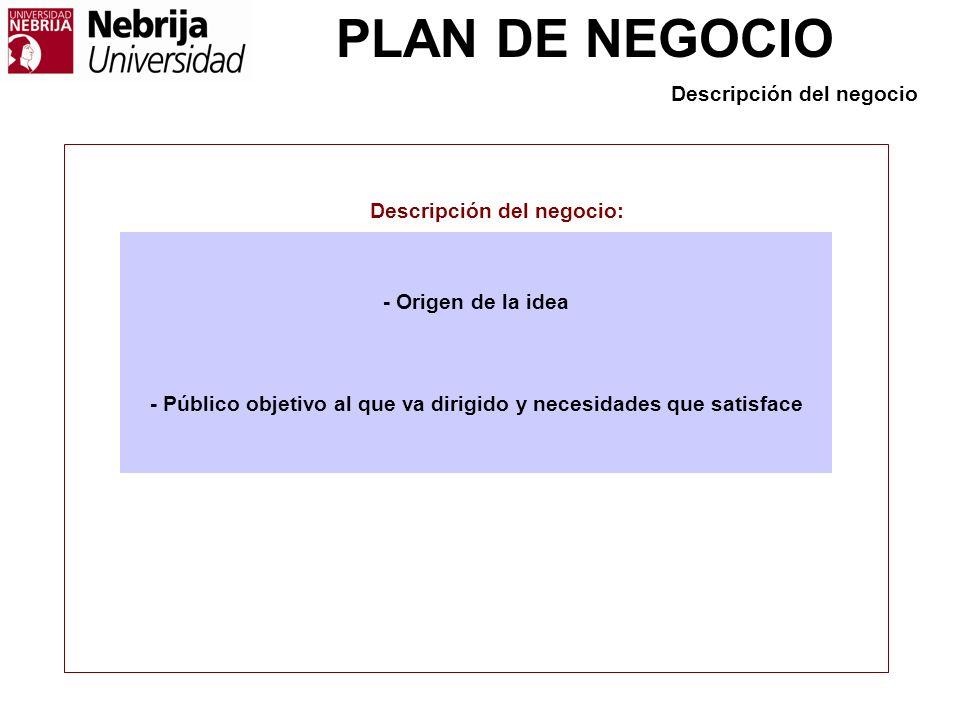 PLAN DE NEGOCIO Descripción del negocio - Origen de la idea - Público objetivo al que va dirigido y necesidades que satisface Descripción del negocio: