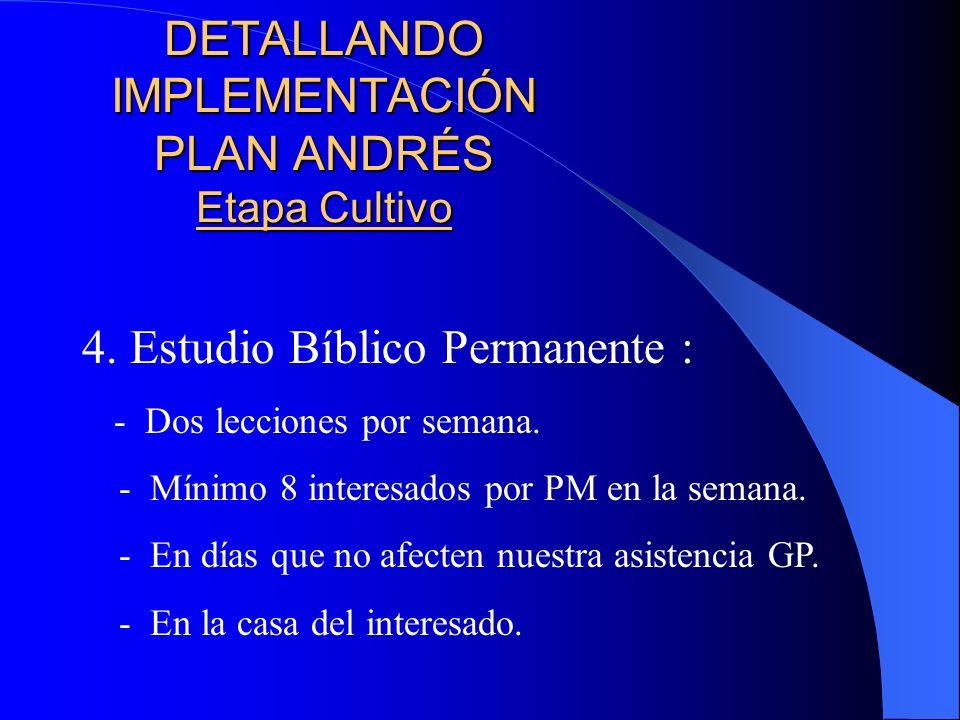 DETALLANDO IMPLEMENTACIÓN PLAN ANDRÉS Etapa Cultivo 3.