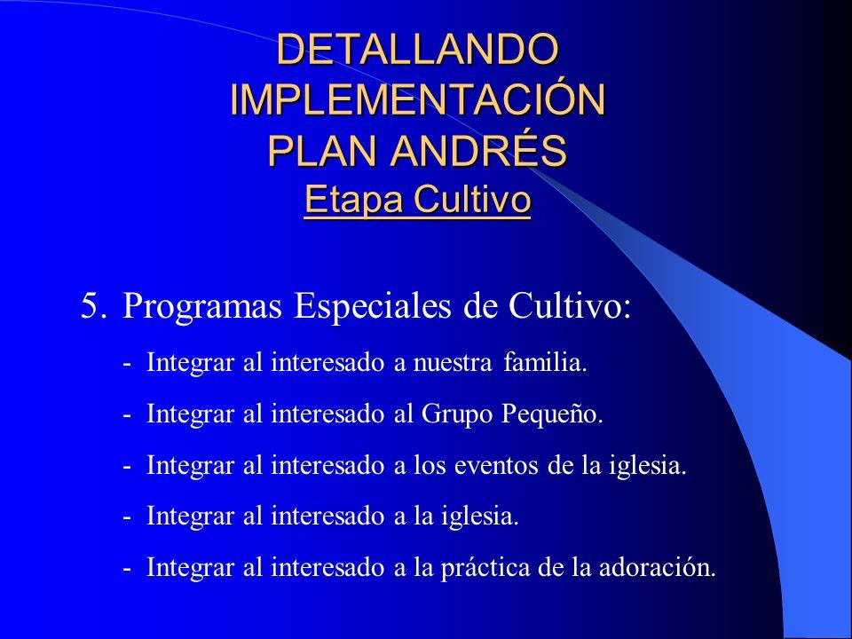 DETALLANDO IMPLEMENTACIÓN PLAN ANDRÉS Etapa Cultivo 4.