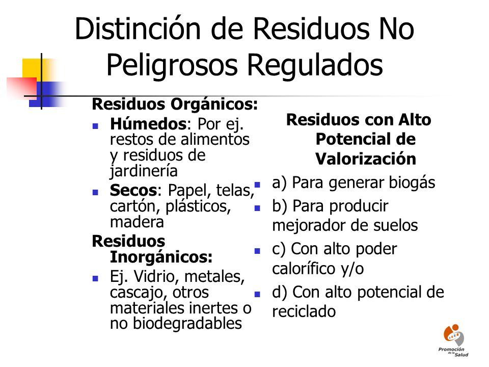 Distinción de Residuos No Peligrosos Regulados Residuos Orgánicos: Húmedos: Por ej. restos de alimentos y residuos de jardinería Secos: Papel, telas,