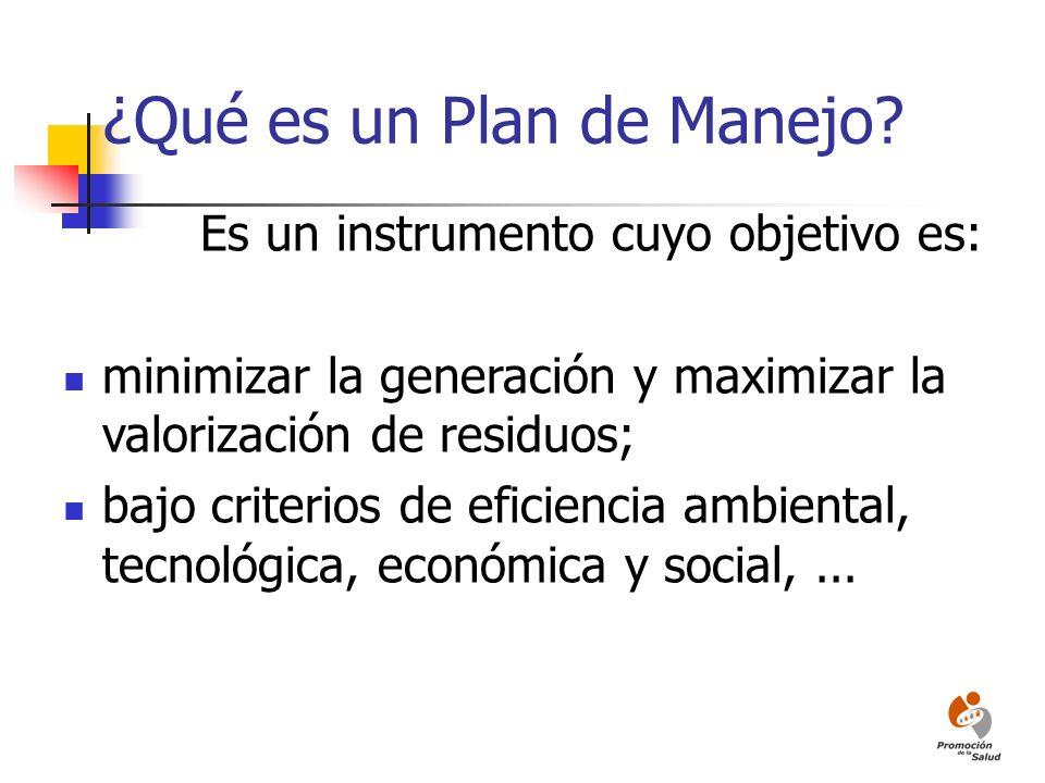 ¿Qué es un Plan de Manejo? Es un instrumento cuyo objetivo es: minimizar la generación y maximizar la valorización de residuos; bajo criterios de efic
